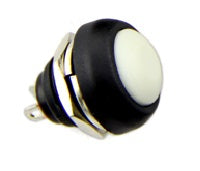 12mm Domed Push Button - White