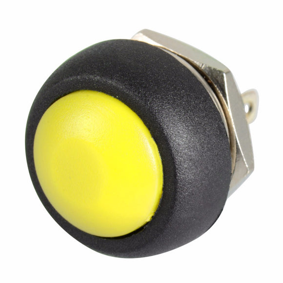 12mm Domed Push Button - Yellow