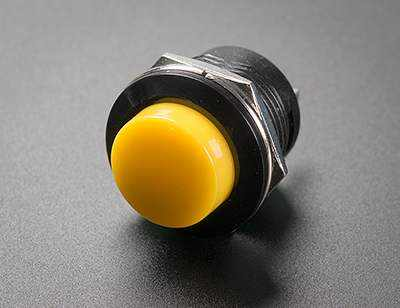 13Mm Panel Mount Momentary Pushbutton - Yellow Prototyping