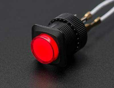 16Mm Illuminated Pushbutton - Red Momentary Prototyping
