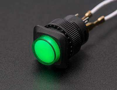 16Mm Illuminated Pushbutton - Green Momentary Prototyping