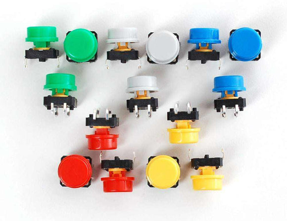 Colorful Round Tactile Button Switch Assortment - 15 Pack Prototyping