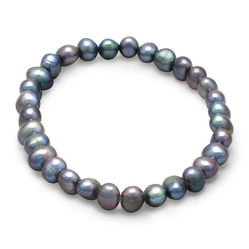 Peacock Cultured Freshwater Pearl Stretch Bracelet