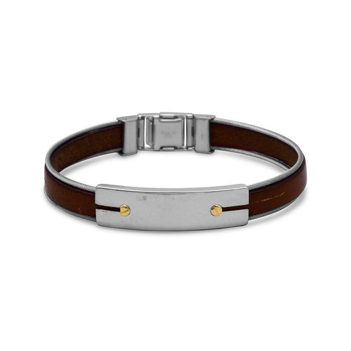 "8.5"" Stainless Steel and Leather Men's Bracelet with 18 Karat Gold Accents"