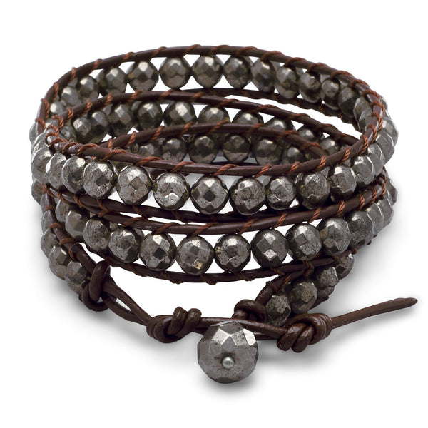 "21"" + 1"" Leather and Pyrite Wrap Fashion Bracelet"
