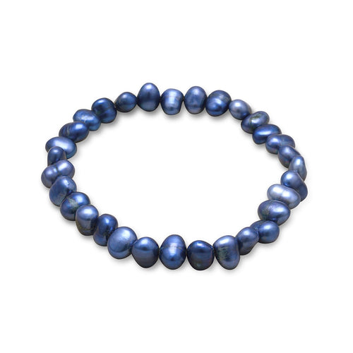 Dark Blue Cultured Freshwater Pearl Stretch Bracelet