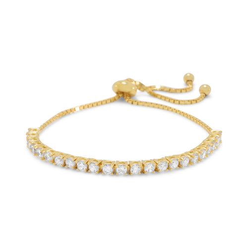 Adjustable 14 Karat Gold Plated CZ Friendship Bolo Bracelet
