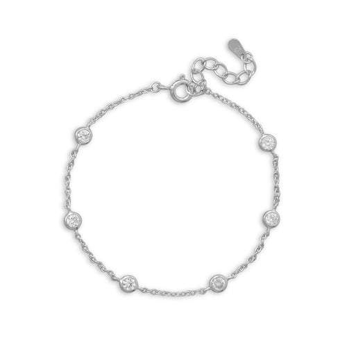 "7""+1"" Extension Rhodium Plated 6 Bezel Set CZ Bracelet"