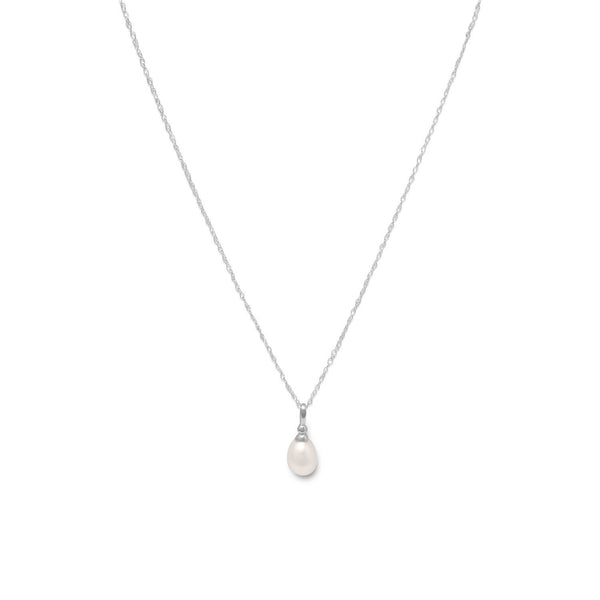 "18"" Rhodium Plated Cultured Freshwater Pearl Drop Necklace"