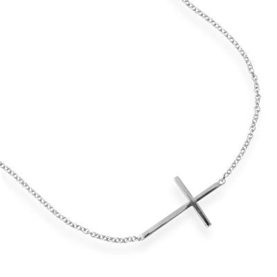 "7"" + 1"" Rhodium Plated Polished Sideways Cross Bracelet"