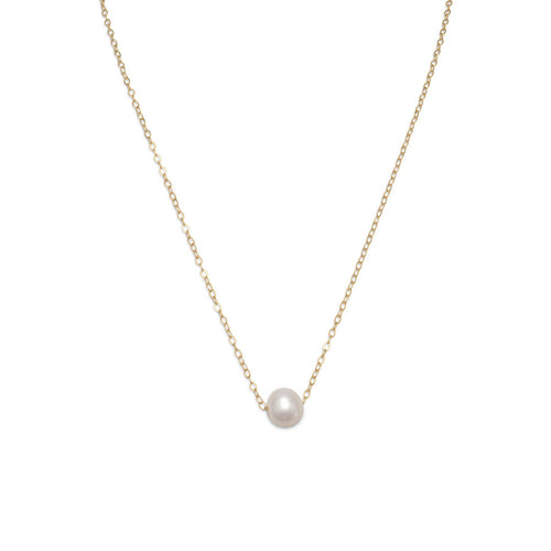 "16"" + 2"" Gold Filled Floating Cultured Freshwater Pearl Necklace"