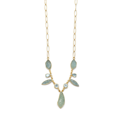 14 Karat Gold Plated Aquamarine and Blue Topaz Necklace