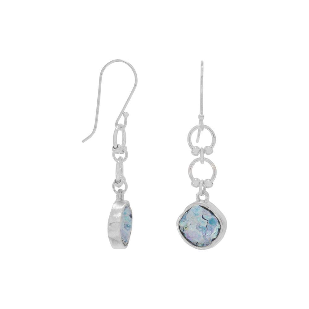 Silver round post earrings with ancient roman glass