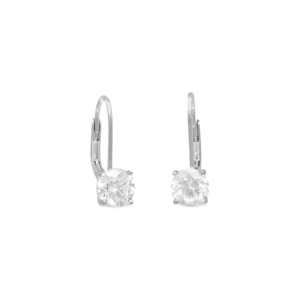 Rhodium Plated Lever Back CZ Earrings