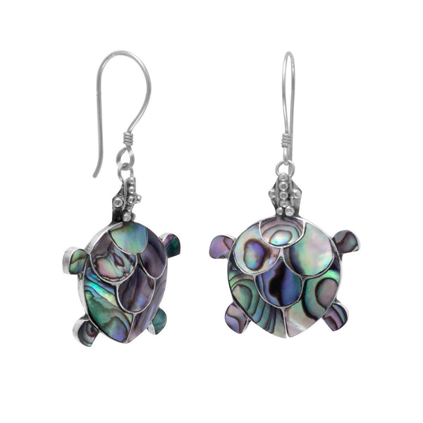 Paua Shell Turtle French Wire Earrings