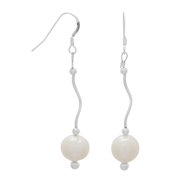 Wave Design Earrings with Cultured Freshwater Pearl Drop