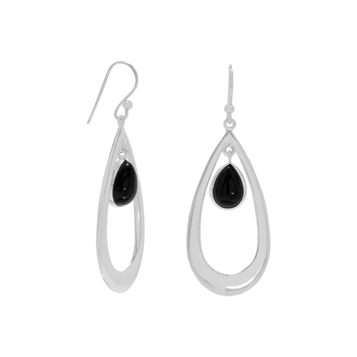 Polished French Wire Earrings with Black Onyx Drop