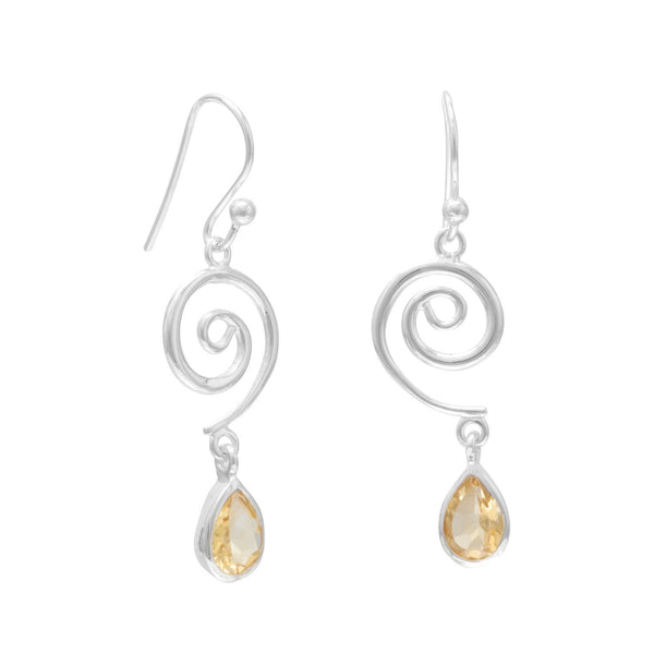 Swirl Design French Wire Earrings with Faceted Citrine Drop