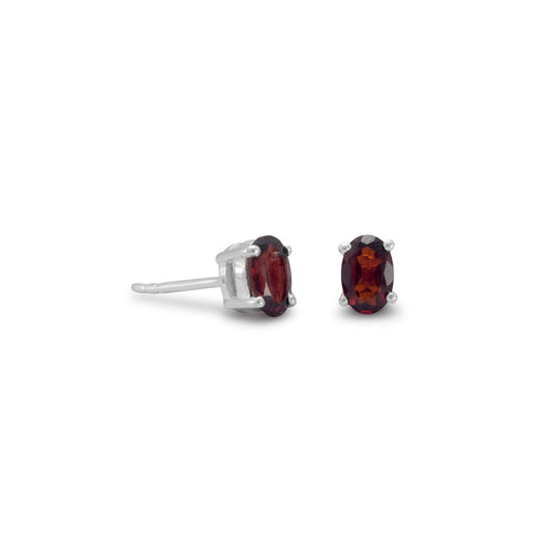 Oval Garnet Earrings
