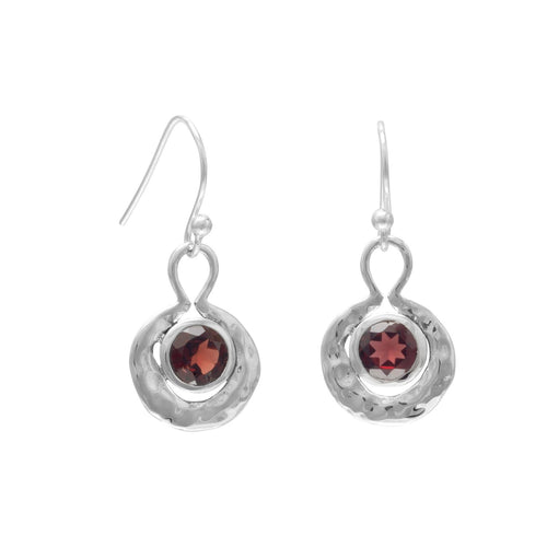 Oxidized Round Hammered Earrings With Garnet