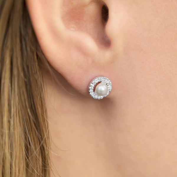 Cultured Freshwater and CZ Earrings
