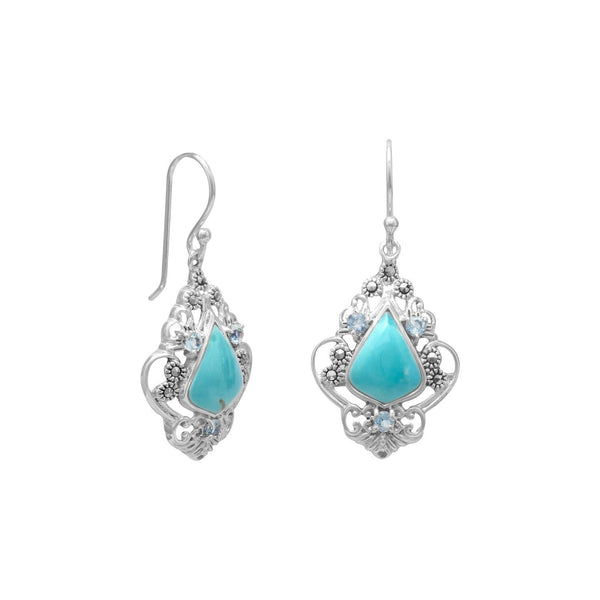 Reconstituted Turquoise, Blue Topaz and Marcasite Earrings