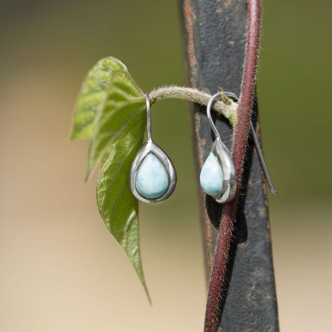 Rhodium Plated Pear Shape Larimar Earrings