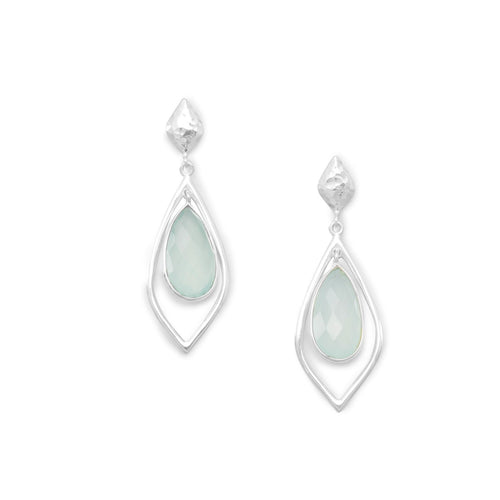 Faceted Green Chalcedony Drop Earrings
