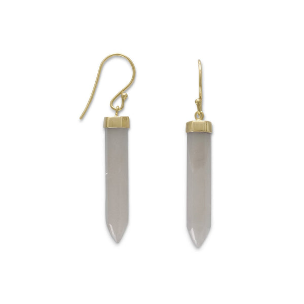 14 Karat Gold Plated Gray Moonstone Spike Earrings