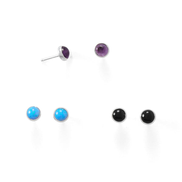 Set of 3 Synthetic Blue Opal, Amethyst, and Black Onyx Button Studs