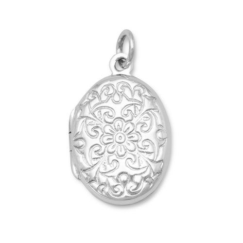 Oval Polished Floral Design Locket