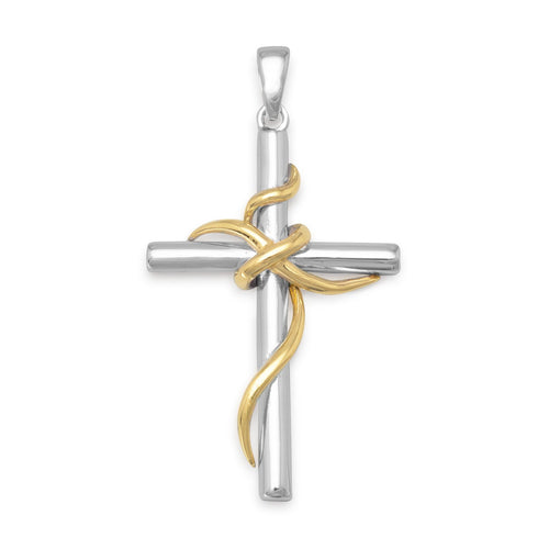 Rhodium and 14 Karat Gold Plated Sterling Silver Cross Pendant