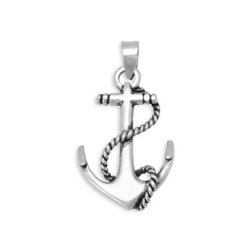 Oxidized Anchor Pendant