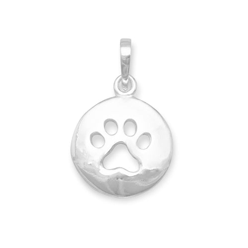 Round Cut Out Paw Print Pendant
