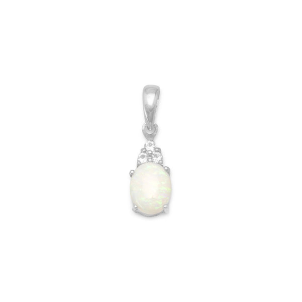 Rhodium Plated Australian Opal and White Topaz Pendant