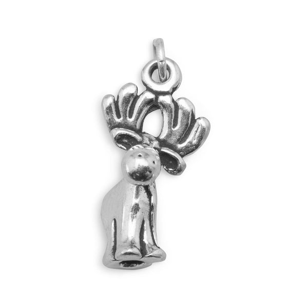 Oxidized Cute Moose Charm