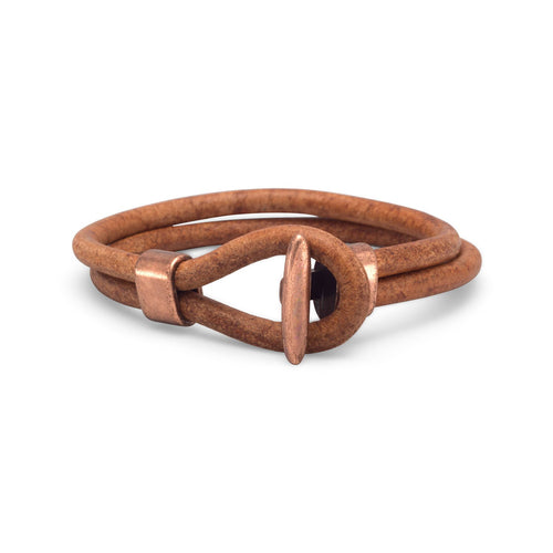 "9"" Men's Leather and Copper Bracelet"