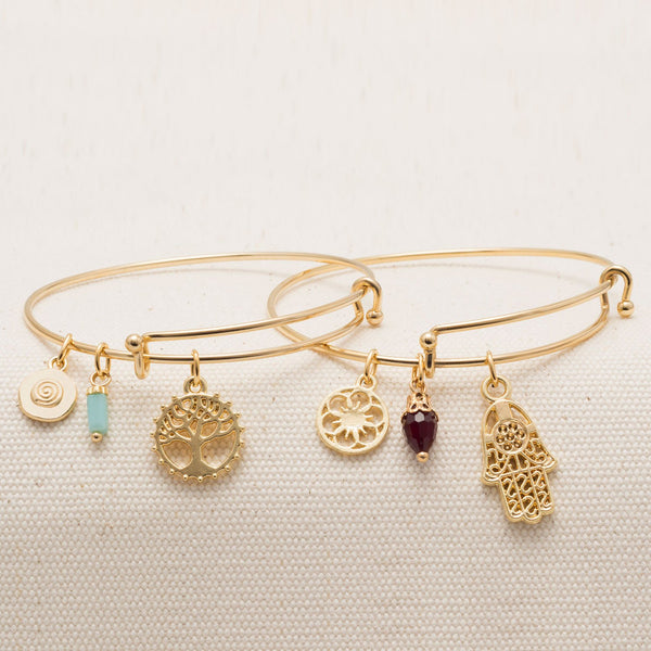 Expandable Gold Tone Tree Charm Fashion Bangle Bracelet