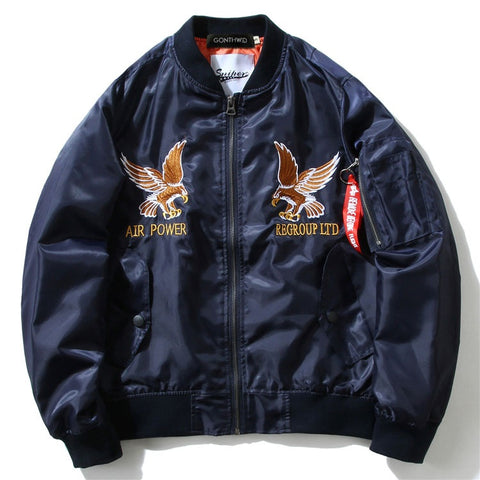 """DRAGON"" Navy - Military Bomber Jacket"