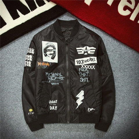 """TRUE"" Bomber Jacket - Black"