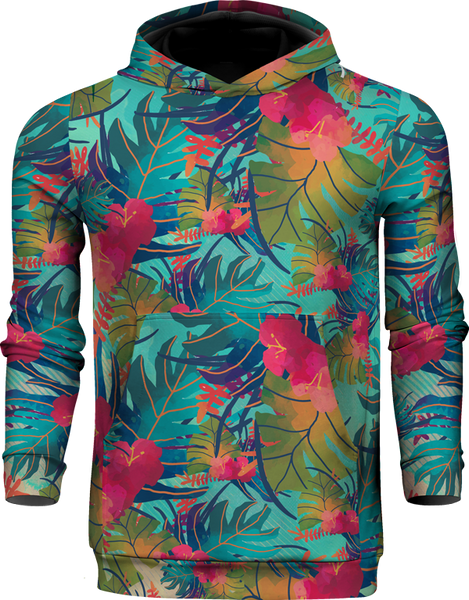 TROPICAL LEAVES 100% POLYESTER HOODIE