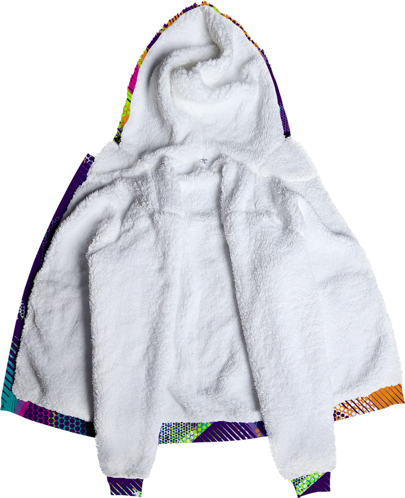 Multi Color Pattern Fleece Hoodie