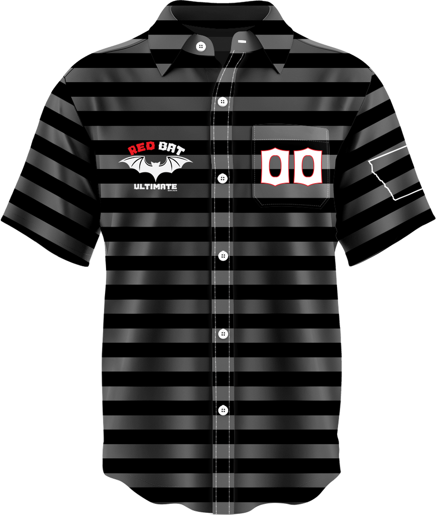 Red Bat Button Up Dark Jersey