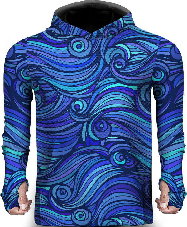 SEA WAVES BLUE LIGHTWEIGHT SUN HOODIE