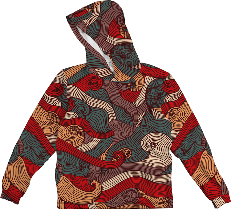 SEA WAVES COLORFUL LIGHTWEIGHT SUN HOODIE