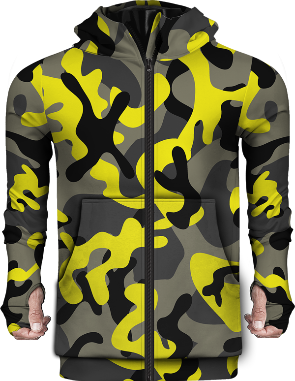 Zip Up Hoodie Camo Yellow