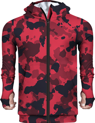 Printed Camo Red Fleece Hoodie