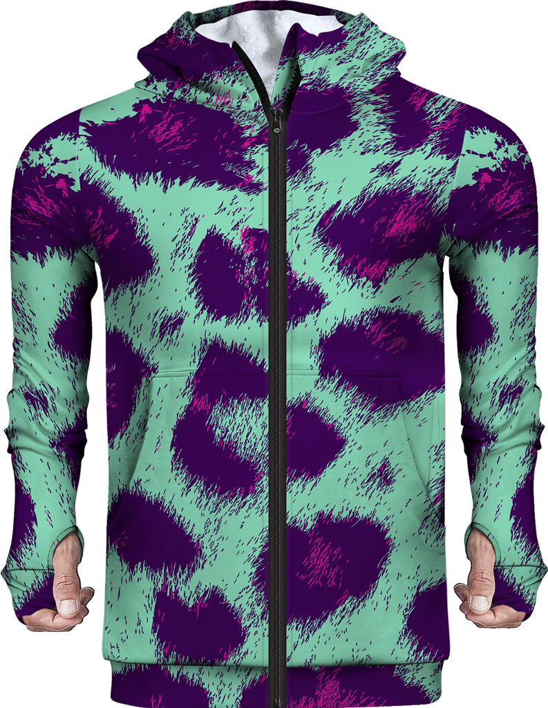 Leopard Abstract Fleece Hoodie