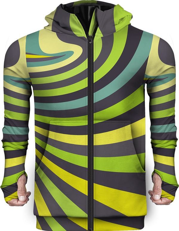 Zip Up Hoodie Spiral Abstract