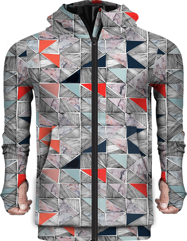 Zip Up Hoodie Printed Pattern